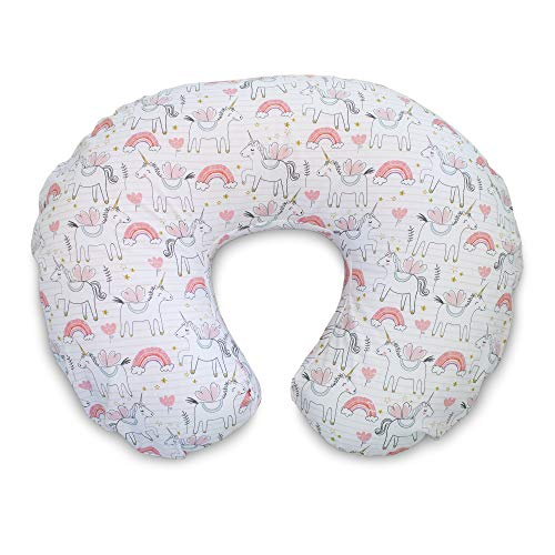 Boppy Original Nursing Pillow Slipcover, Cotton Blend Fabric, Pink Unicorns