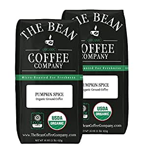 The Bean Coffee Company Pumpkin Spice, Organic Ground, 16-Ounce Bags (Pack of 2)