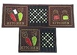 EUCH Non-slip Rubber Backing Carpet Kitchen Mat Doormat Runner Bathroom Rug 2 Piece Sets,15''x47''+15''x23'' (carrot-brown)