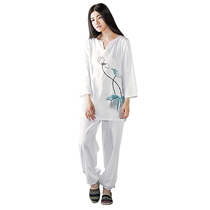 Amazon.com: KSUA Womens Tai Chi Uniform Zen Meditation Suit ...