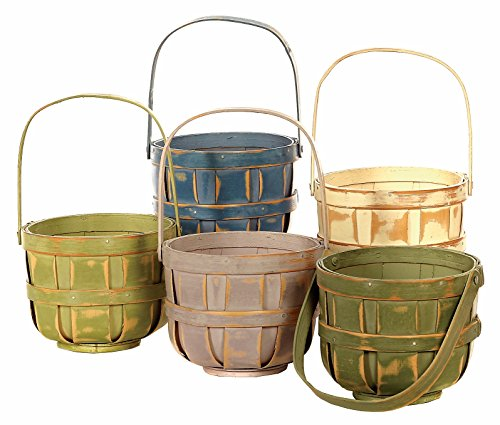 Easter Basket Vintage (Napco Wood Basket with Handle, Decorative Bushel Style, Color Will Vary, 5 Inch, 5