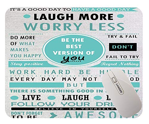 Banatree Design Mouse Pad, Inspirational Quotes Laugh More Worry Less Don