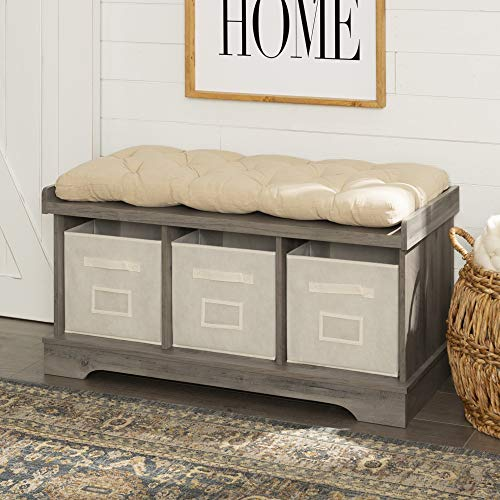 Walker Edison Furniture Company Modern Farmhouse Entryway Shoe Storage Bench Totes Upholstered Cushion Hallway Organizer, 42 Inch, Grey Wash