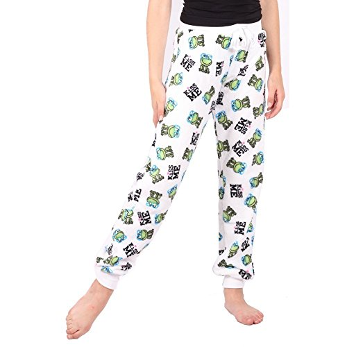 Lori & Jane Juniors White Green Frog Kiss Me Print Fleece Pajama Pants XL