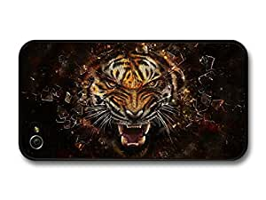 Angry Tiger Breaking Glass Illustration case for iPhone 4 4S