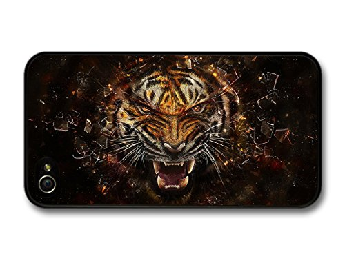 Angry Tiger Breaking Glass Illustration coque pour iPhone 4 4S