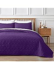 VEEYOO 3 Pieces King Bedspread - Ultrasonic Geometric Lightweight Quilt Set, Soft Microfiber Reversible Coverlet for Summer (Black, 1 Bedspread, 2 Shams)