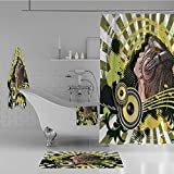 Bathroom 4 Piece Set Shower Curtain Floor mat Bath Towel 3D Print,a DJ Disco Headphone Dance Striped Background,Fashion Personality Customization adds Color to Your Bathroom.