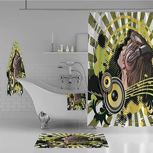 Bathroom 4 Piece Set Shower Curtain Floor mat Bath Towel 3D Print,a DJ Disco Headphone Dance Striped Background,Fashion Personality Customization adds Color to Your Bathroom. by iPrint