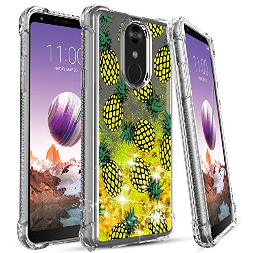 LG Stylo 4 Case,LG Stylo 4 Plus Phone Case,Numy Glitter Liquid Quicksand Waterfall Flowing Sparkle Heart-Shaped Sequin Shockproof Girls Case,Protective w Four Corners-Pineapple