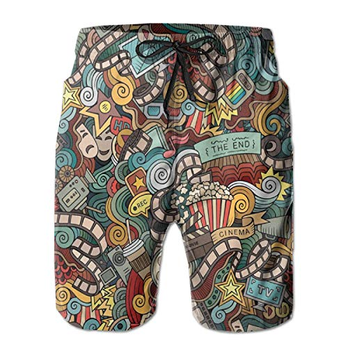 Fixed Reel Seat - Men Swim Trunks Beach Shorts,Cinema Items Combined in an Abstract Style Popcorn Movie Reel The End Theatre Masks L