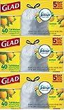 Glad OdorShield Tall Kitchen Drawstring Trash Bags UimeXH, Lemon, 120 Count