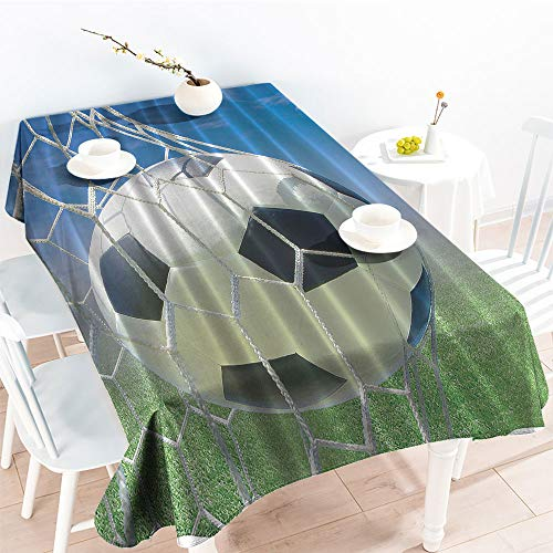 Rectangular Table Covers Soccer Goal Net Football Games Photo Design Field Grass Sky Ball for Teens and KidsKitchen Dinning Party TableclothBlack White Blue Green(52 by 70 Inch Oblong Rectangular)