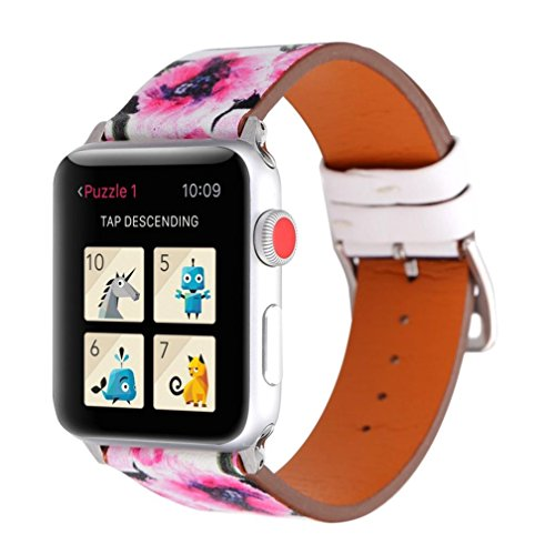 Bracelet Printed Pattern (Boofab Flower Design Strap for iWatch,38mm 42mm Floral Pattern Printed Leather Wrist Band Apple Watch Link Bracelet for Apple Watch Fitness Tracker Series 3 2 1 Version (A, Apple Watch 42mm))