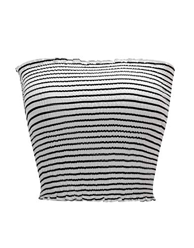 KalyChic Womens Summer Casual Strapless Pleated Print Bandeau Tube Crop Tops Stripe_White S
