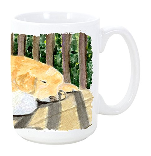 Caroline's Treasures SS8760CM15 Golden Retriever Microwavable Ceramic Coffee Mug, 15 oz, (Treasures Ceramic Mug)