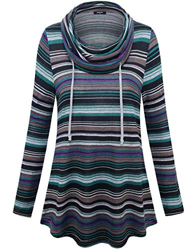 (Lotusmile Tunic Sweatshirts for Women, Cowl Neck Tops for Women Long Sleeve Pullover Sweatshirts with Pocket Multicolor Striped Casual Shirts,Deep Cyan L)