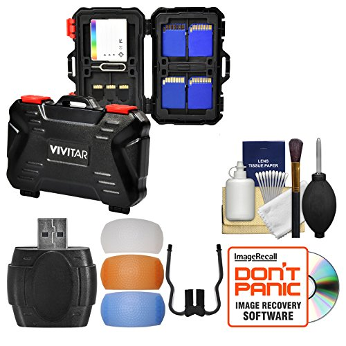 Vivitar Memory Card Hard Protector Case - Holds 4 CF, 8 SD & 12 MicroSD with Card Reader + Flash Diffusers + Cleaning Kit ()