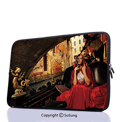 14inch Shockproof Laptop Sleeve,Young Woman with a Red Cloak and Carnival Mask Riding on Antique Gondola Laptop Briefcase Compatible with similarly 11