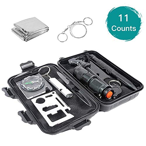 - Emergency Survival Gear Kit 13 in 1, EMDFORCE Professional Outdoor Survival Tools with Bracelet Fire Starter Whistle Flashlight Tactical Pen Compass for Camping Hiking Hunting Travelling
