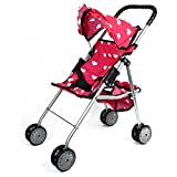 The New York Doll Collection My First Doll Stroller with Basket and Heart Design Foldable Doll Stroller, Pink