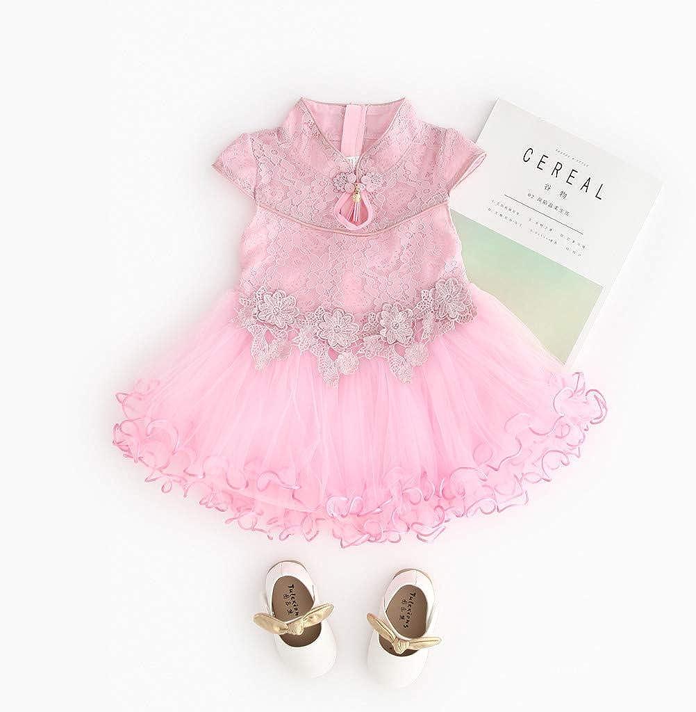 Matoen Toddler Kid Baby Girl Floral Porcelain Embroidery Lace Flower Patchwork Cheongsam Princess Dress