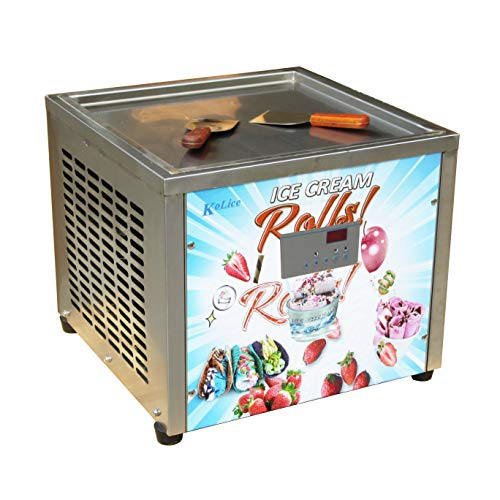 Free shipment 45X45cm (18X18 inches) single square ice pan machine fried ice cream roll machine instant fry ice cream machine roll ice cream machine with full refrigerant, AUTO DEFROST and PCB smart AI temp. controller