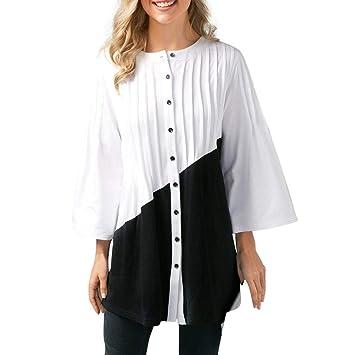 Camisas Mujer,❤ Modaworld Moda Blusa de Manga Tres Cuartos de Patchwork Casual para