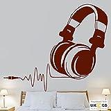 tekkdesigns Music Headphones Beat Heart Kids Bedroom Cool Wall Art Stickers Decal Vinyl Room Bedroom Boys Girls Kids Adults Home Livingroom Quotes Kitchen Bathroom Accessories Mural