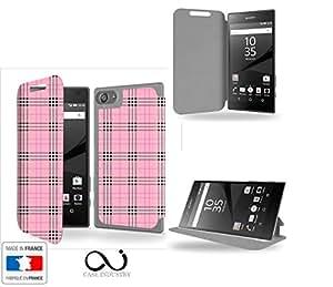 Tartan rose Collection Pattern Funda de Cuero para Sony Xperia Z5 Compact Flip Case Cover (Estuche) - FUNDA SOPORTE / PU Cuero - Accesorios Case Industry Smart Magnet