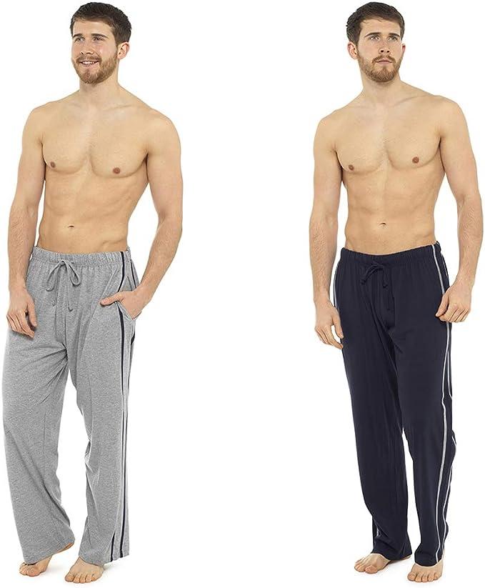 Pack 2 Hombre/Caballeros Pijama Liso pijama Pantalones Pantalones De Andar Por Casa, Varias Tallas - algodón, Azul, 15% viscosa 85% algodón 100% algodón, Hombre, Large: Amazon.es: Ropa y accesorios