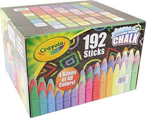 Crayola Washable Sidewalk Chalk Set, Anti-roll design, Outdoor fun (192 Chalks) by Crayola