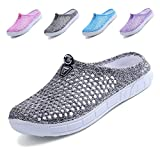Lewhosy Women's Garden Clogs Shoes Slippers Sandals Quick Drying Lightweight Breathable(41/Gray)