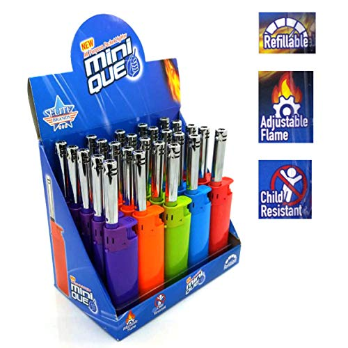 - Elite Brands USA Mini Long Tube Refillable Extended Reach Multipurpose Lighters, Ideal for Candle Camping Grilling Barbeque Cigarette, Bulk BBQ Lighters, Wholesale Pack of 25