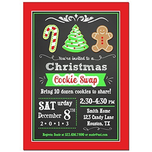 - Christmas Cookie Swap Party Invitations with ANY Wording Printed or Printable - Christmas, Holiday, Cookie, Party Invitation