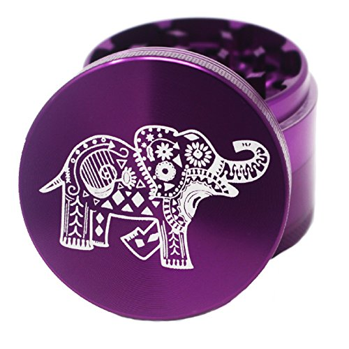 """& Herb Grinder – 2.2"""" Inch 4 Piece Premium Aluminum Crusher – Lionhead (Purple) ()"""