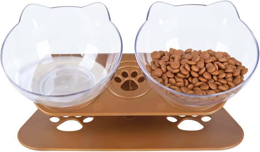 Pantula Cat Bowls - Tilted cat Food Bowls - Raised cat Food Bowl Pet Double 15° Slanted cat Bowls Elevated with Non-Slip Rubber Base Stand for cat Dish(Brown)