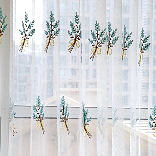 Bouquets Window Curtain, Joopee Sheer Curtain Tulle Window Treatment Voile Drape Valance 1 Panel Fabric (200cm x 100cm, Blue) - Bouquet Panel