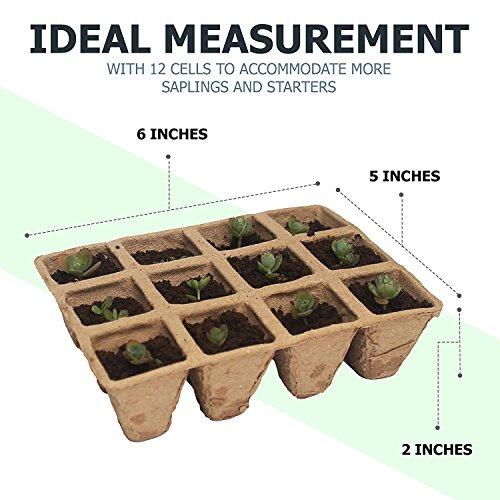 Seed Starter Tray | 100% Natural and Biodegradable Planting Pots for Organic Plant Growth | 5 12-Cell Seedling Started Trays (60 Total Peat Pots) with 12 Reusable Plastic Markers