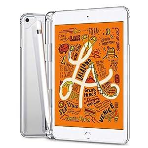 SLEO Case iPad Mini 5 2019 Case,SLEO Slim Transparent Protective Silicone Rubber TPU Back Case Cover for iPad Mini 5 2019 with Pencil Holder Design