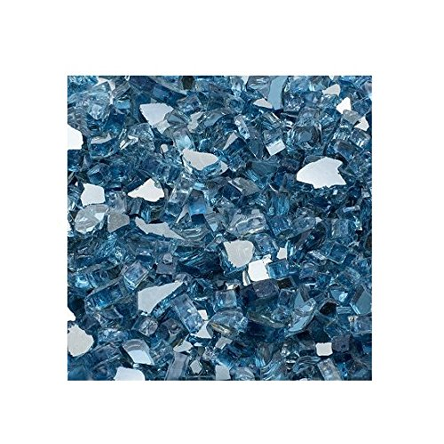 Dragon Glass DFG25-R04, Sky Blue 1/4'' Reflective Fire Glass, 25 lb by Dragon Glass