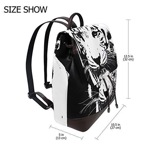 Svart och vit tiger ryggsäck handväska mode PU-läder ryggsäck ledig ryggsäck för kvinnor