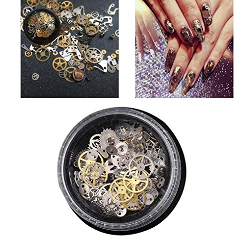 DEESEE(TM) 1 Box Steampunk Wind Clock Mechanical Nail Decorations Metal Manicure DIY Nail Tips (Steampunk Acrylic)