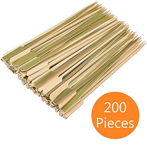 Cocrao 7'' Bamboo Sticks Skewers 200 PC/Bag Kabob Skewers, BBQ Skewers for Outdoor Barbecue, Fondue, Cooking, Grilling & Kabob by Cocrao
