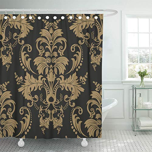 - Emvency Shower Curtain Stencil Black Floral Damask Pattern Dark Graphic Antique Botany Shower Curtains Sets with Hooks 72 x 72 Inches Waterproof Polyester Fabric