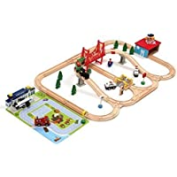 Airport Wooden Train Set - iPlay, iLearn wooden railway...