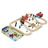 Airport Wooden Train Set - iPlay, iLearn wooden railway airport set