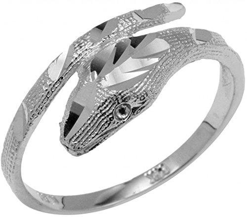 Snake Gold Ring White (High Polish 10k White Gold Snake Wrap Band Lucky Cobra Ring (Size 6.75))