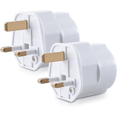 kwmobile 2 adaptadores de Viaje compactos para Inglaterra - Enchufe de Viaje Shuko EU a UK en Blanco