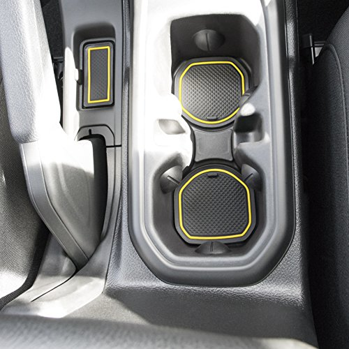 Custom Fit Cup, and Radio Pocket Liner Accessories for JL JLU Jeep Wrangler 2018 2019 13-pc Set (FITS Sports and Rubicon with Cloth Seats ONLY!, Yellow Trim)